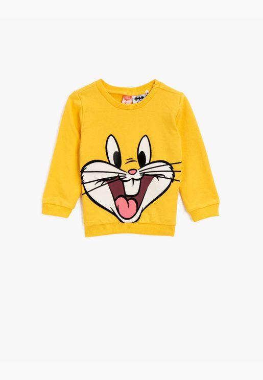 Cotton Crew Neck Bugs Bunny Licensed Printed Sweatshirt