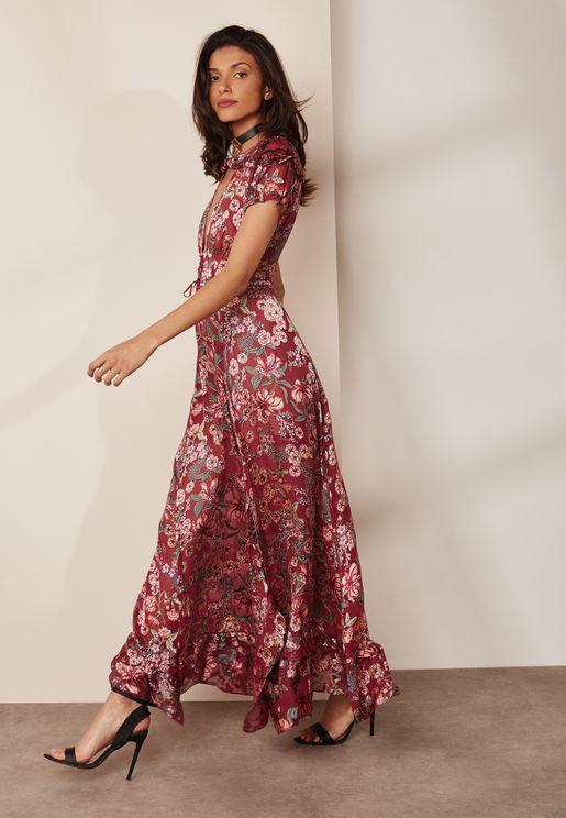 Side Split Floral Print Maxi Dress