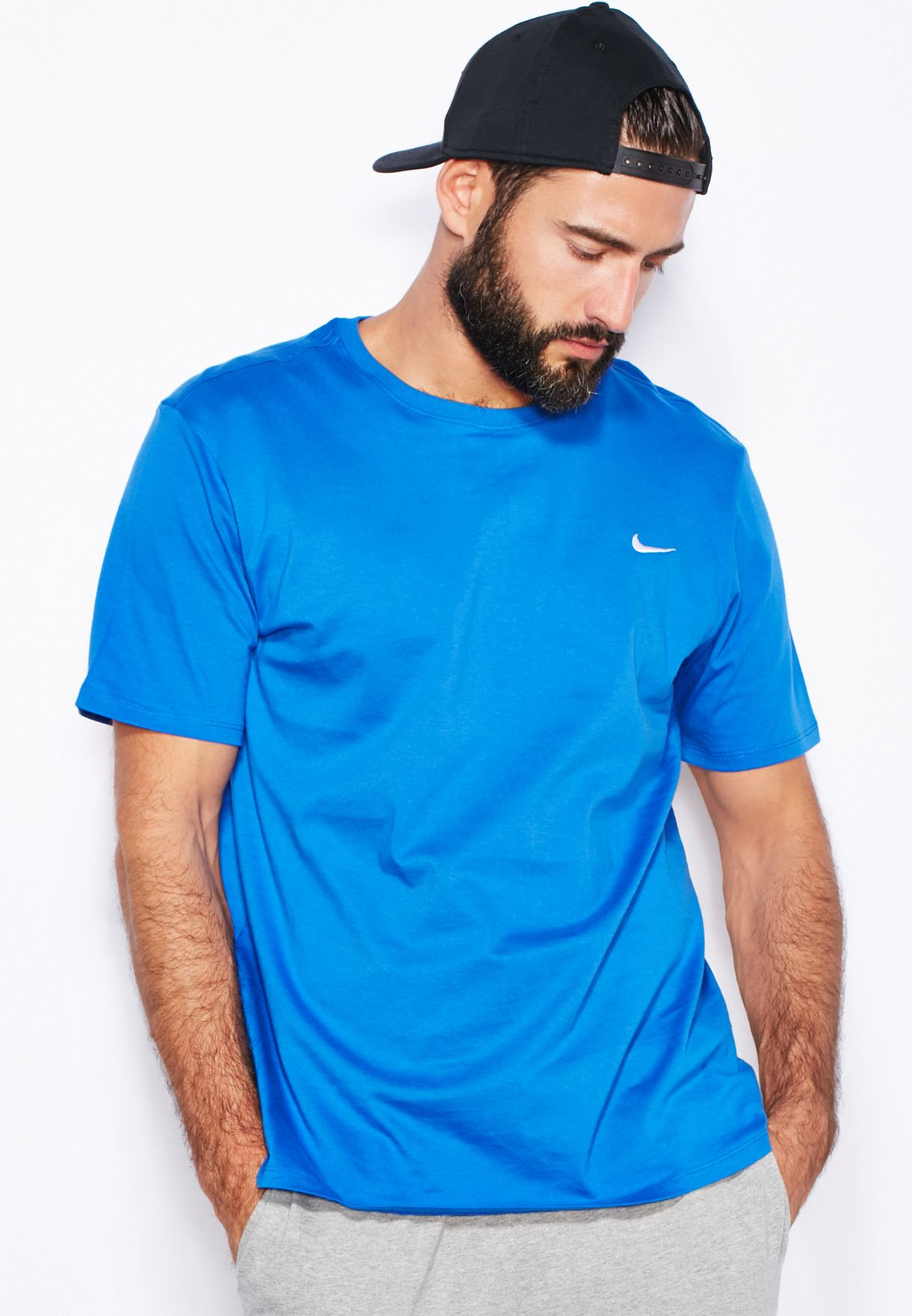 c6750c64 Shop Nike blue Embroidery Swoosh T-Shirt 707350-463 for Men in Oman ...