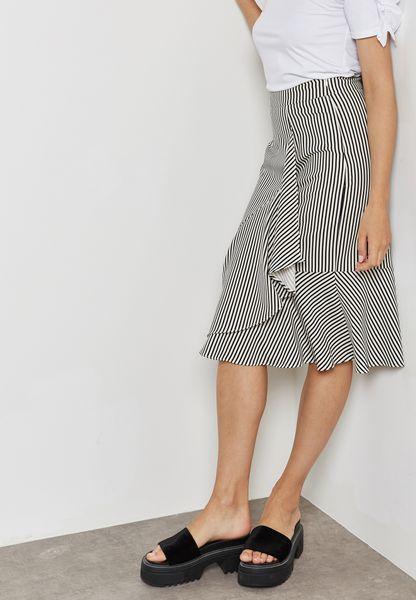 Striped Ruffle Detail Skirt