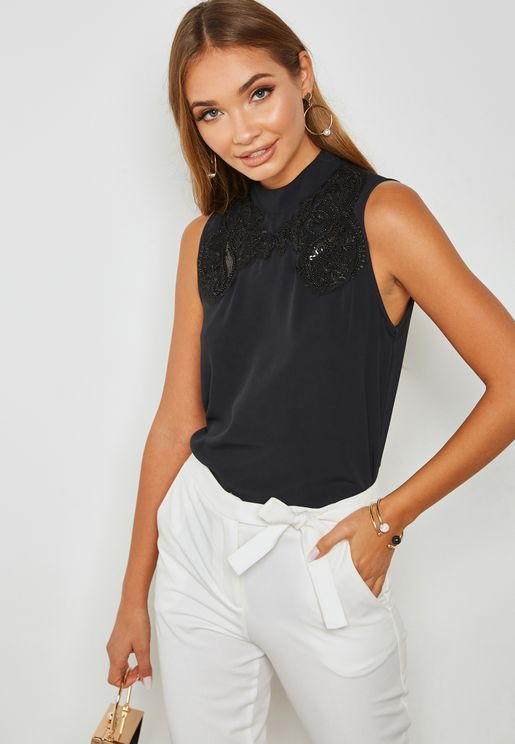 High Neck Sequin Detail Top