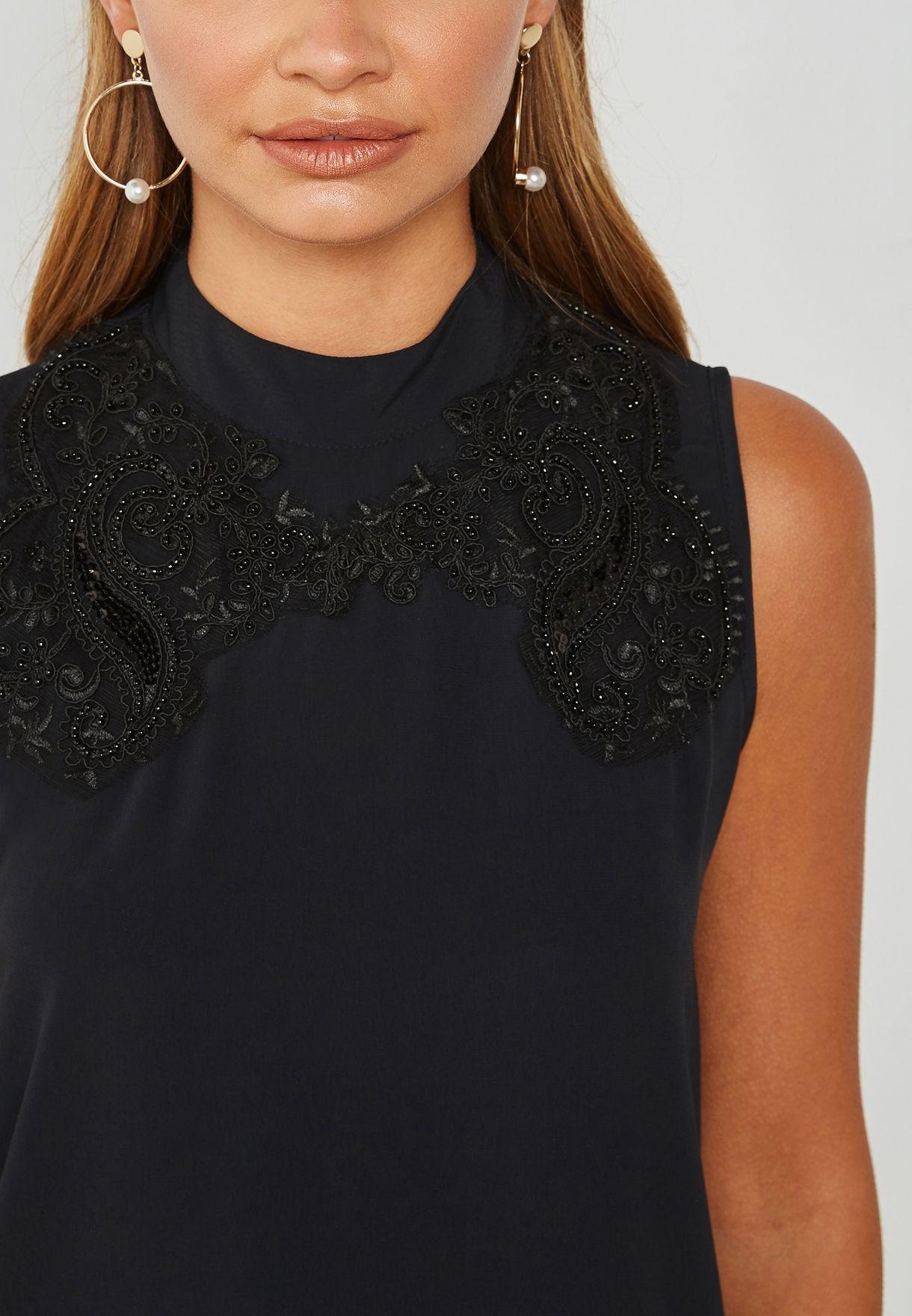 Embellished High Neck Top