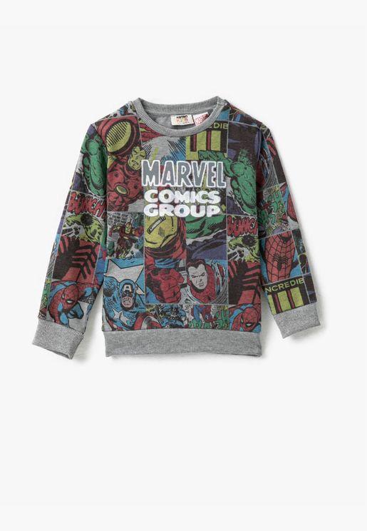 Marvel Licansed Printed Crew Neck Long Sleve Sweatshirt
