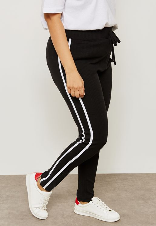 Ribbed Jersey 2 Stripe Leggings