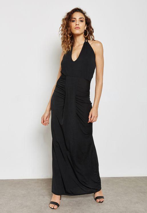 Halter Neck Plunge Ruched Maxi Dress