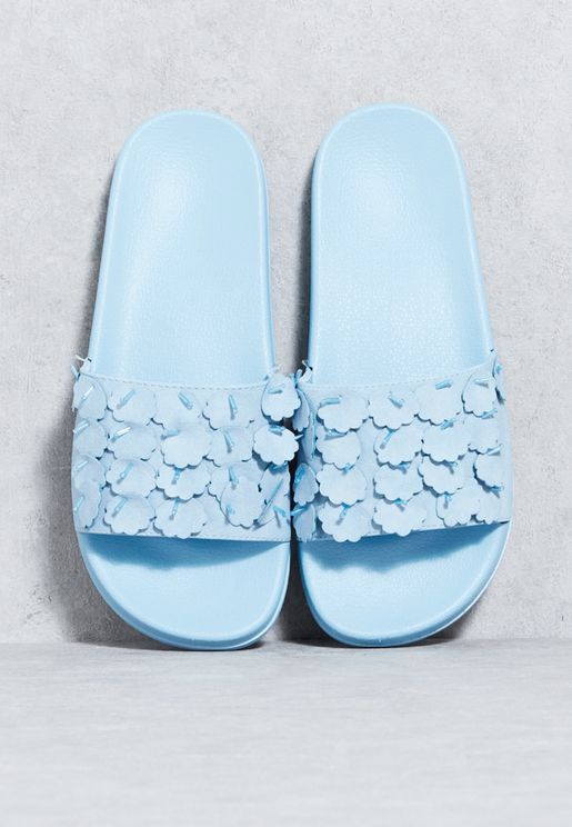 Scalloped Embroidered Slides