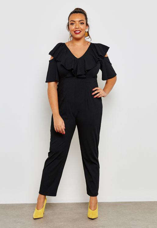 57a6bc6e3b1d Ribbed Cold Shoulder Frill Detail Jumpsuit