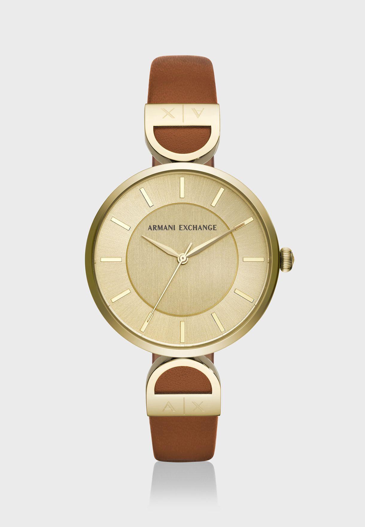 ساعة أنيقة بحزام جلد