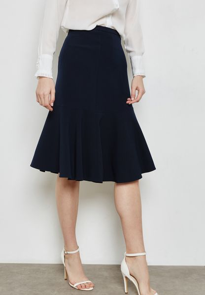 Flared Peplum Hem Skirt