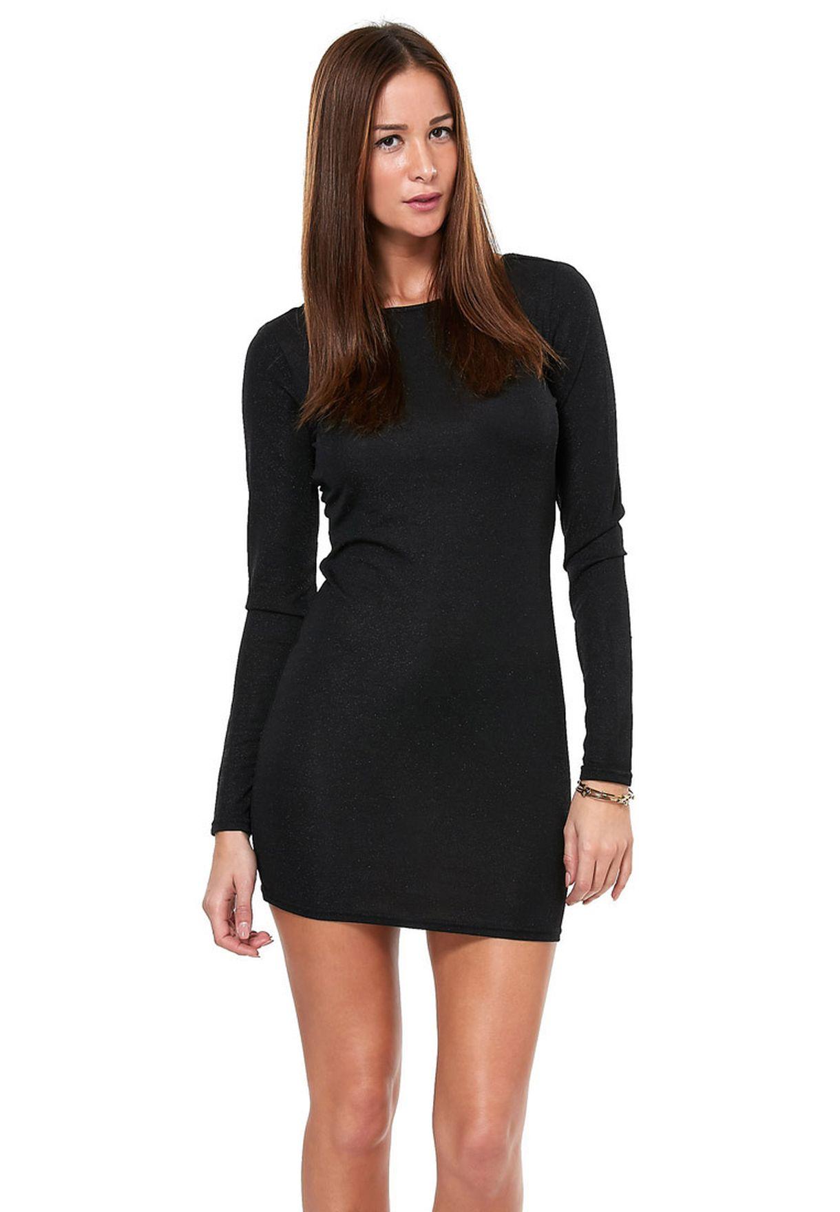 fbd0dd8d01144 Shop Vero Moda black Kallo LS Mini Dress for Women in Qatar ...