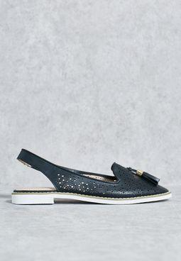 Black Punchout Slingback Shoes