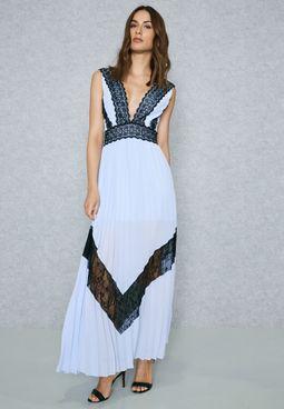Lace Trim Pleated Dress