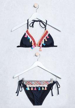Embroidered Tassel Bikini Set
