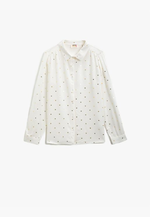 Classic Collar Printed Long Sleeve Shirt