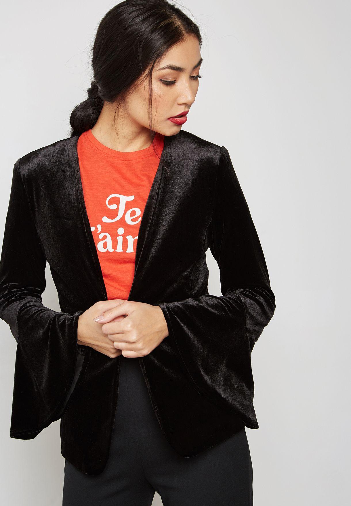 79b5321d181 Shop Ella black Ruffle Sleeve Velvet Blazer V119 for Women in UAE ...