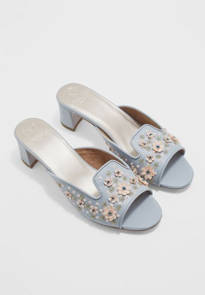 Crystal Embroidery Block Heels