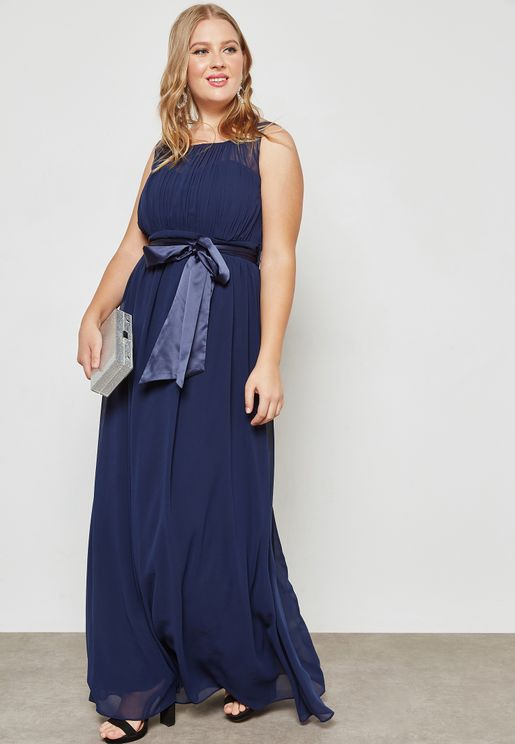 Belted Maxi Bridesmaid Dress