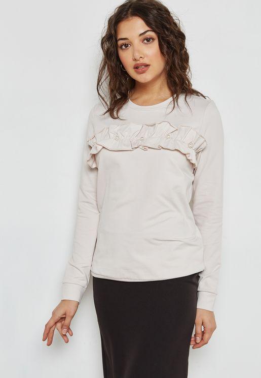 Pearl Detail Ruffle Sweatshirt