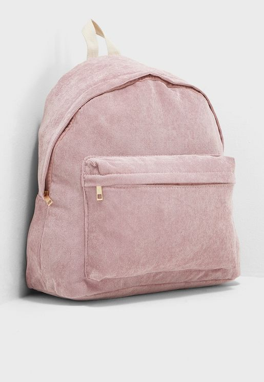 Front Pocket Corduroy Backpack