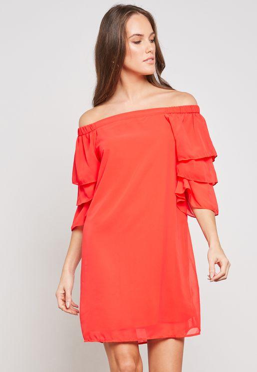 Bardot Layered Sleeve Dress