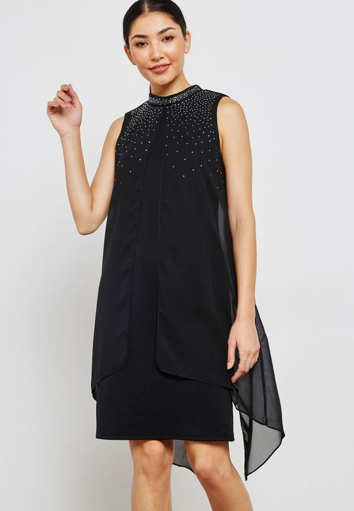 Funnel Neck Split Front Dress