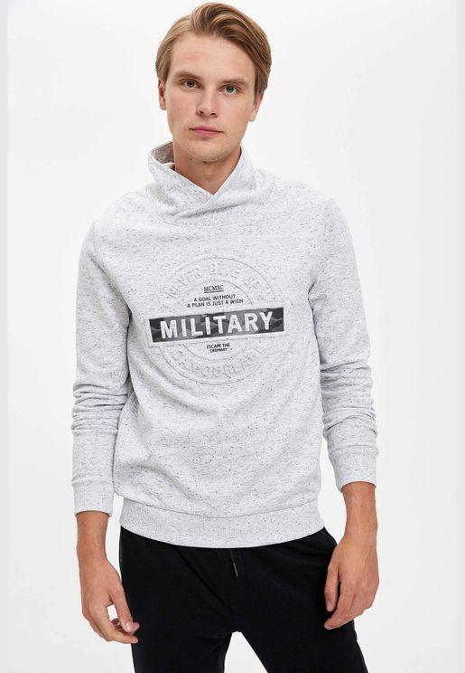 Man Knitted Slim Fit Shawl Neck Sweat Shirt