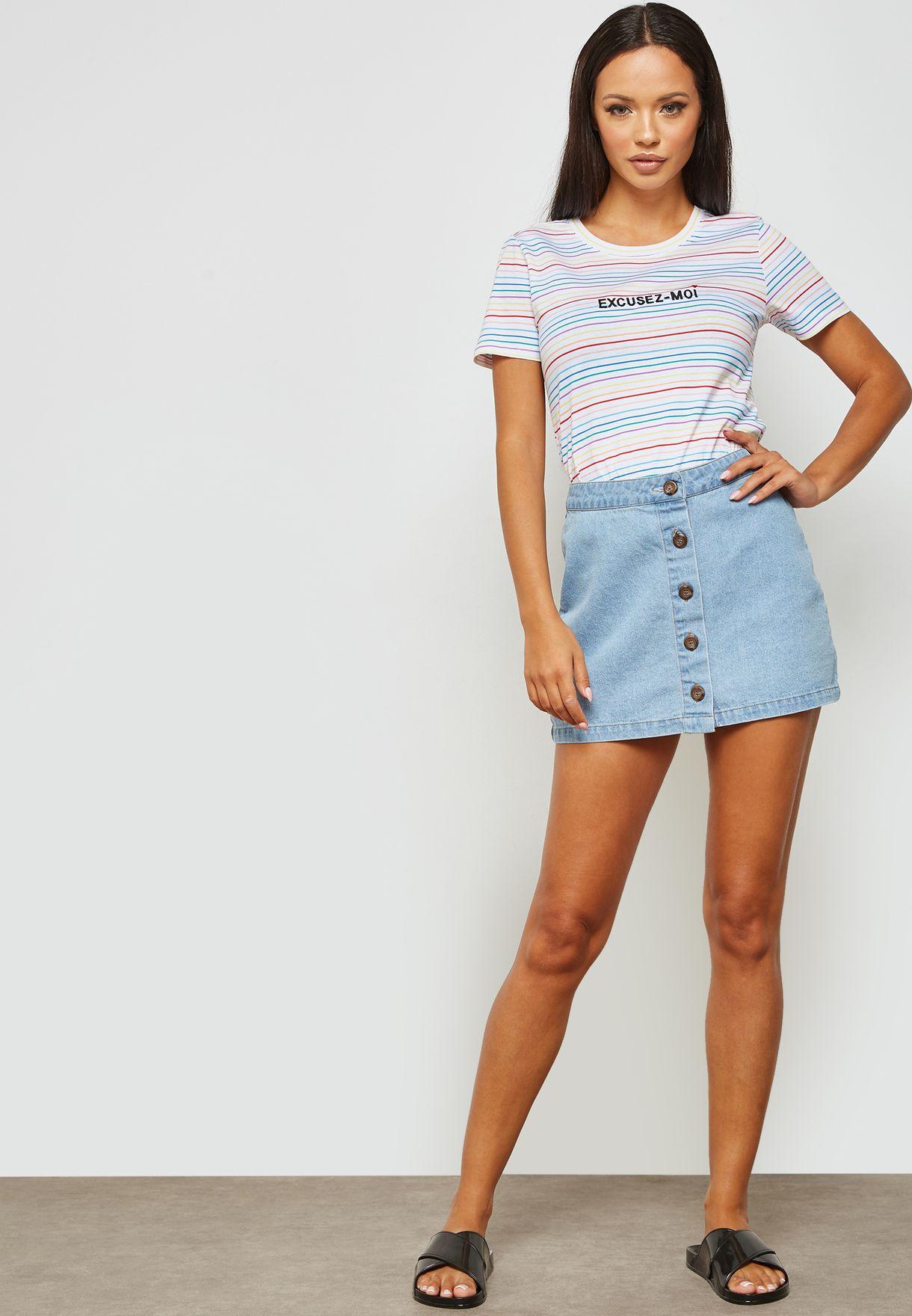 Striped Slogan T-shirt