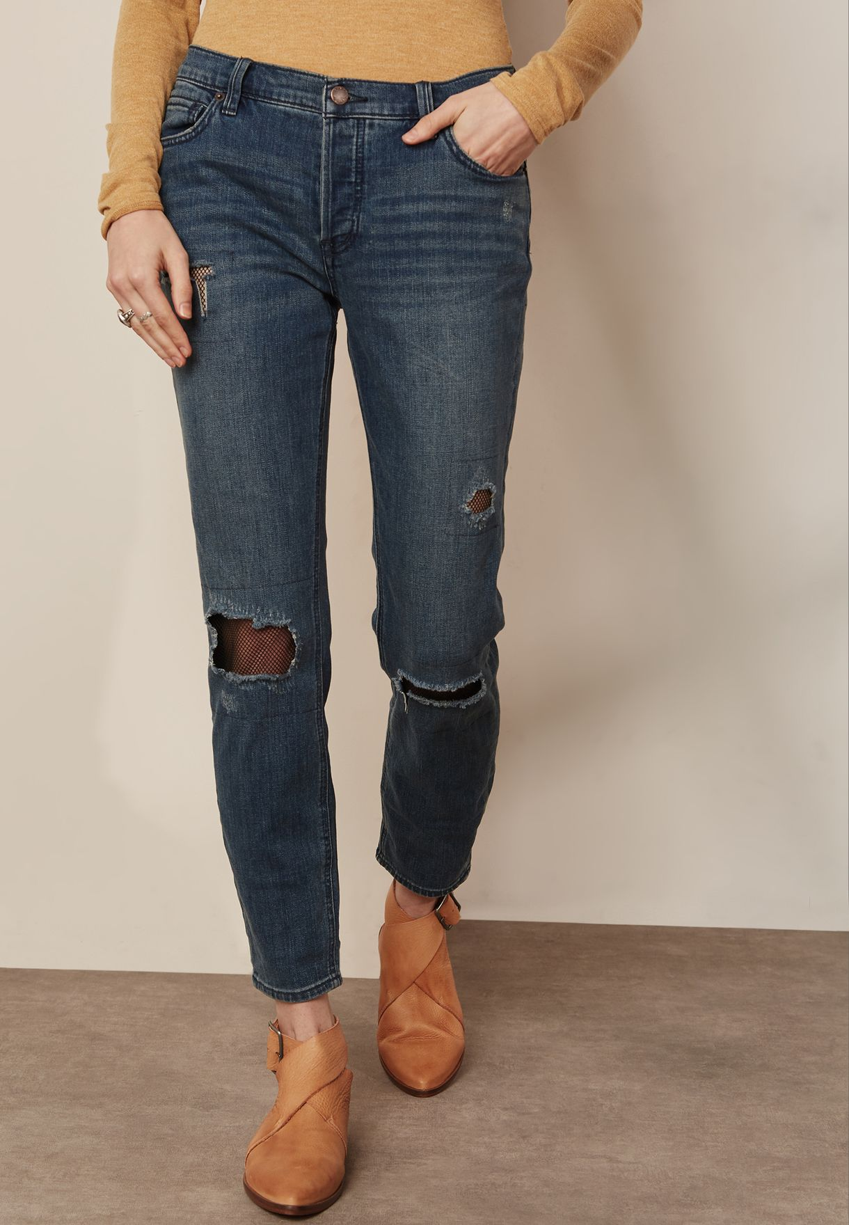 3118415878f Shop Free People blue Knee Ripped Skinny Jeans OB760791 for Women in Saudi  - FR205AT58HCN