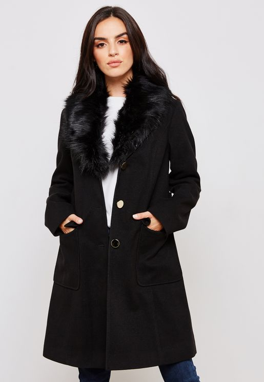 Faux Fur Belted Coat