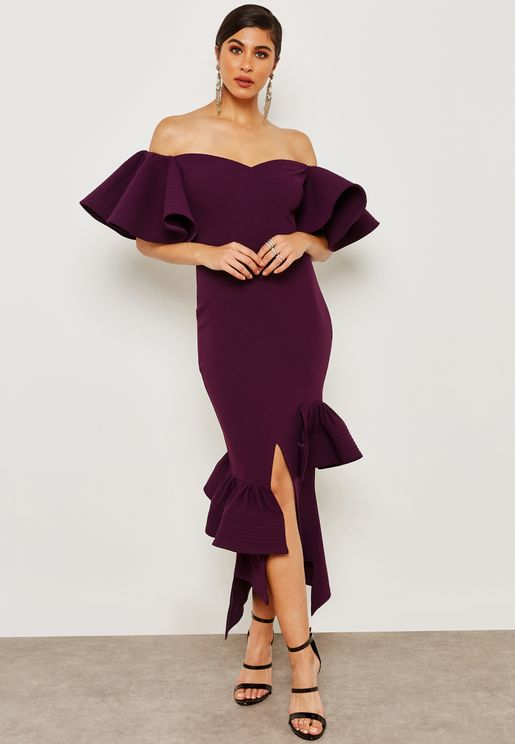 Bardot Ruffle Sleeves Dress
