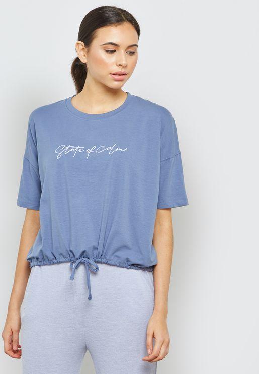 Slogan Tie Front Night T-shirt