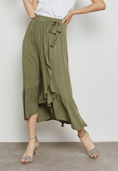 Ruffle Wrap Front Tie Maxi Skirt
