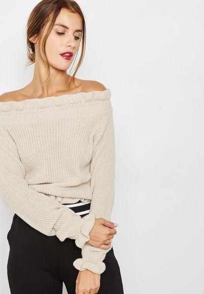 Ruffle Trim Bardot Sweater