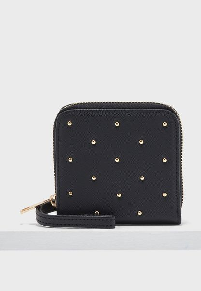 Small Studded Zip Around Purse