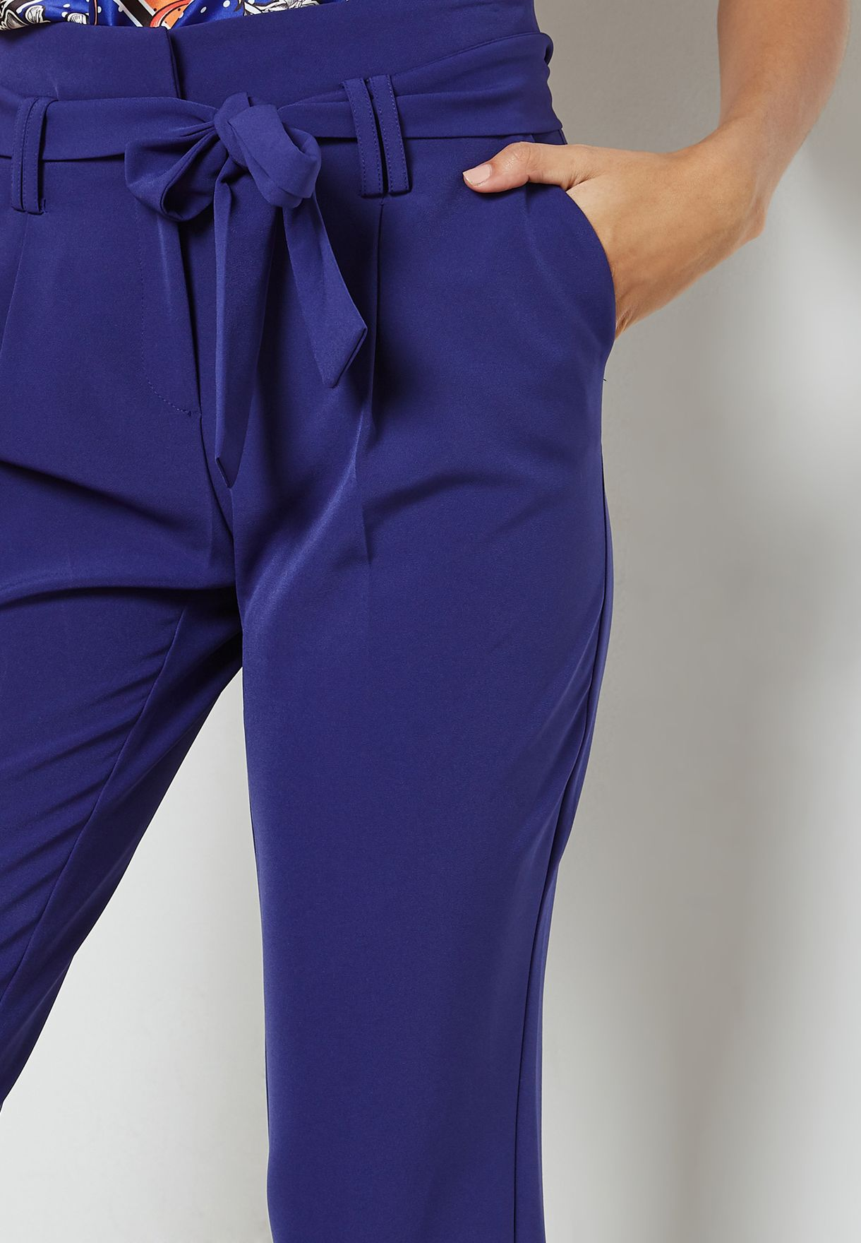 Tie Waist Tapered Leg Pants