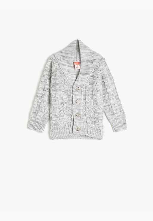 Button Detailed Long Sleeve Cardigan