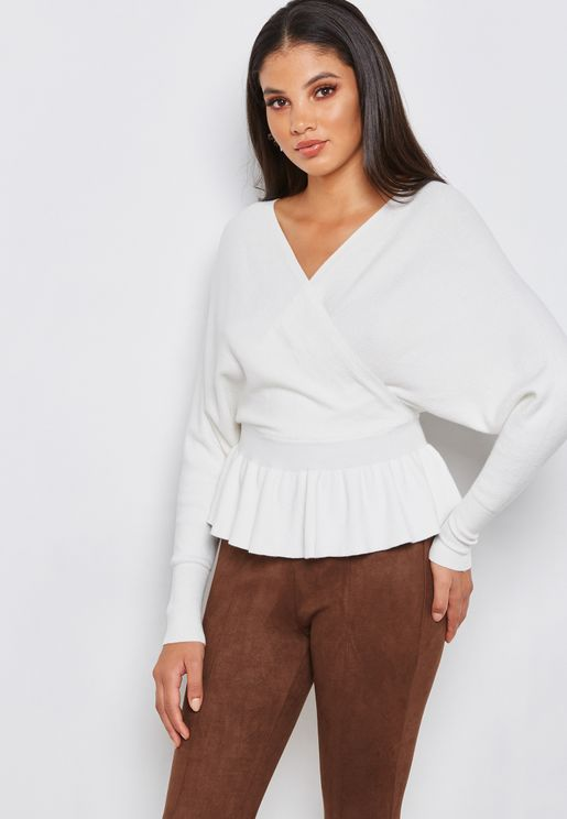 Wrap Front Peplum Sweater