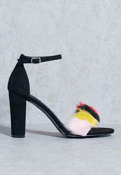 Multi Colour Furry Block Heel Sandal