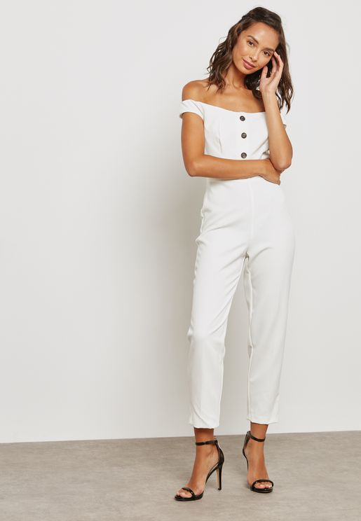 Button Down Bardot Jumpsuit