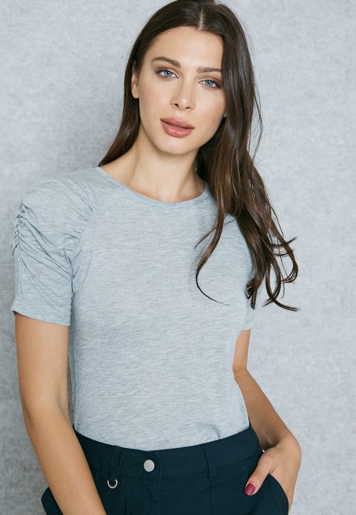 Ruched Sleeve T-Shirt