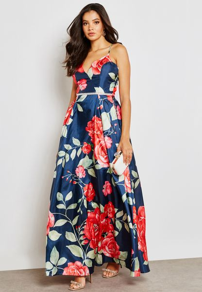 Cross Back Floral Print Plunge Dress