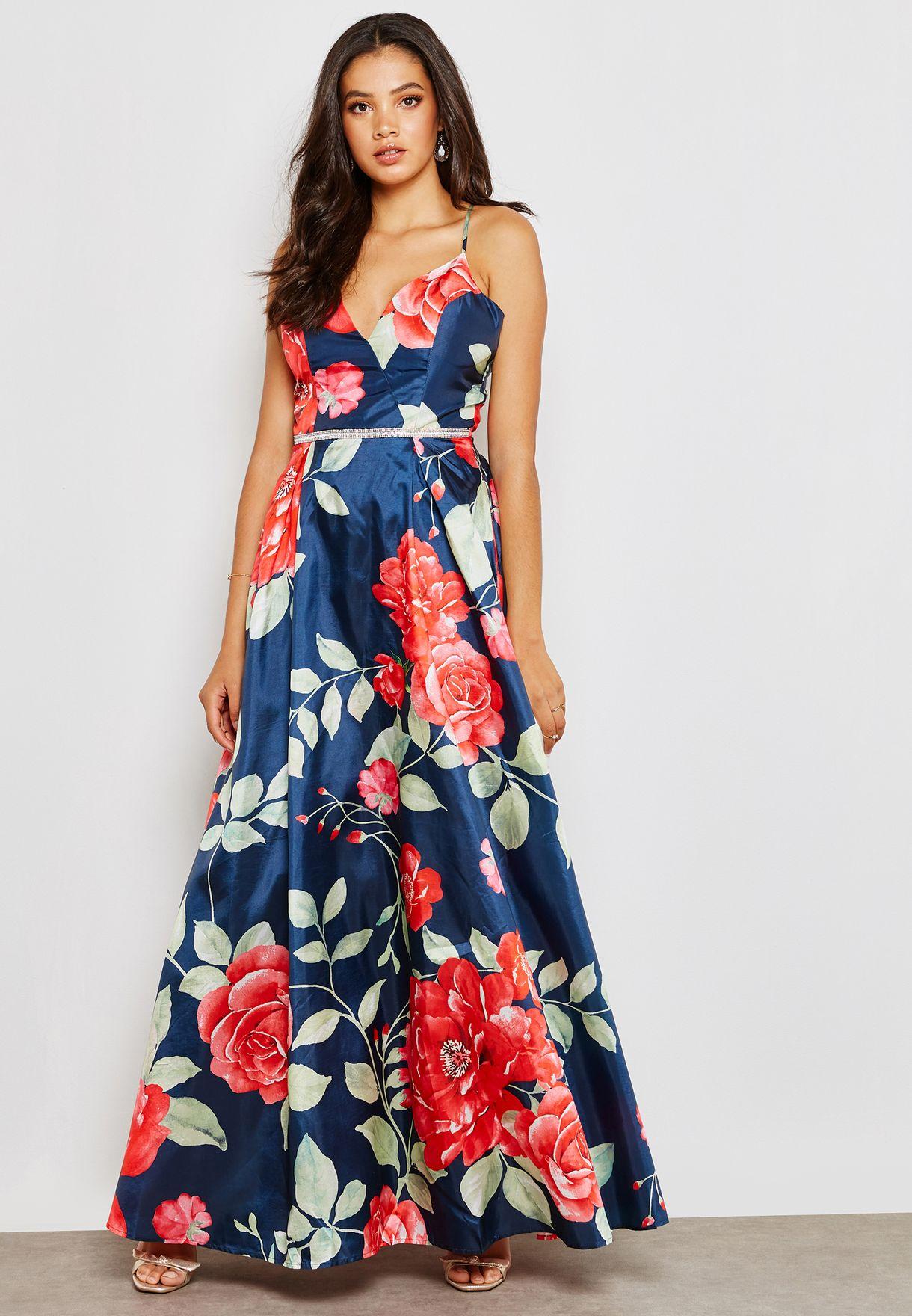 Floral Print Cross Back Dress