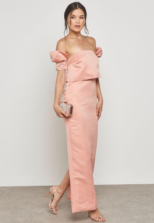 Embellished Sleeves Maxi Dress