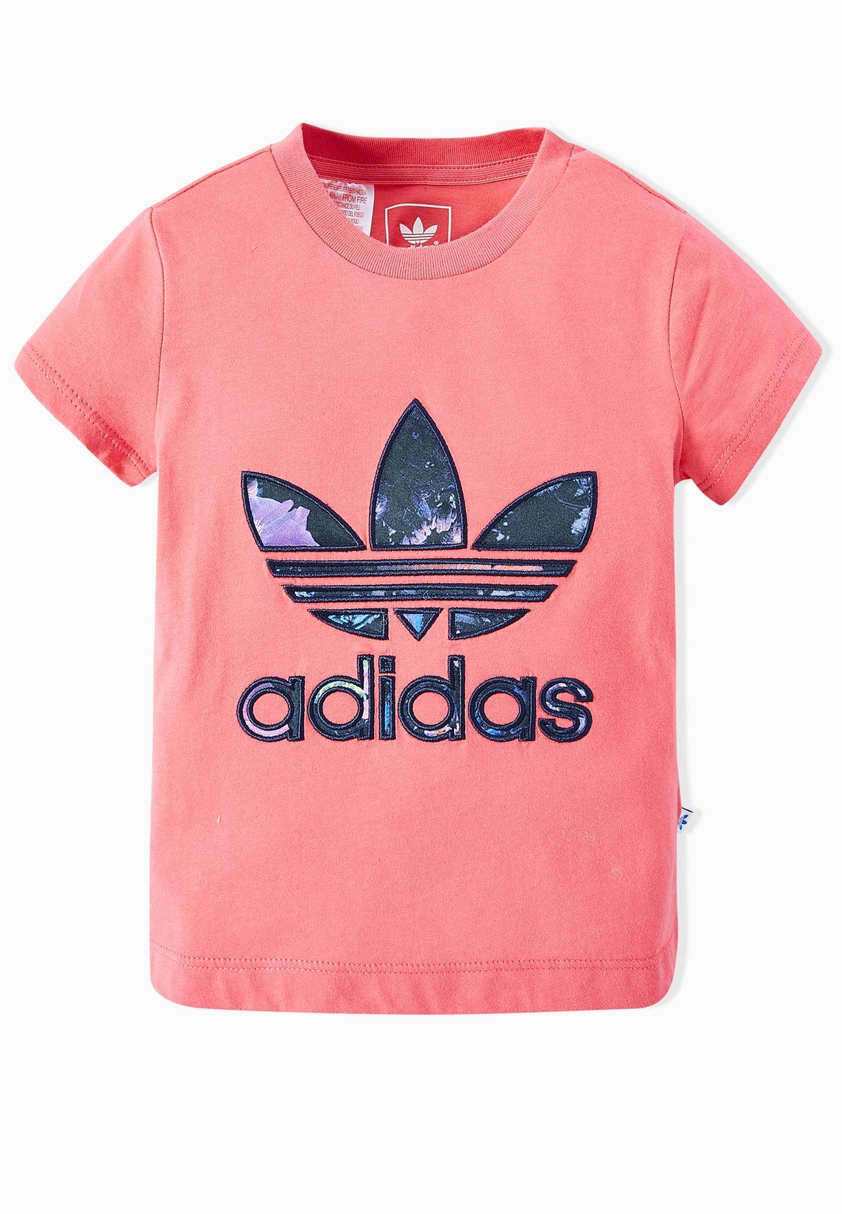 4ca0ab6771 Shop adidas Originals pink Youth Trefoil Logo T-Shirt AJ0035 for ...