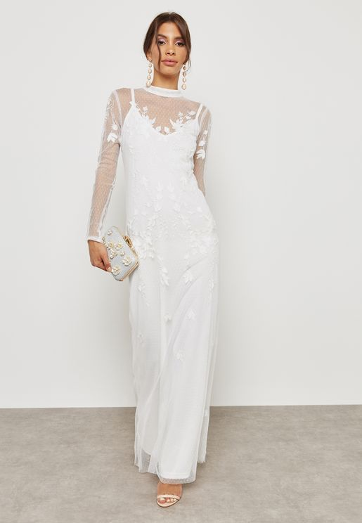 Lace Illusion Maxi Dress