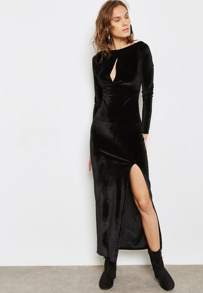 Keyhole Slit Velvet Maxi Dress