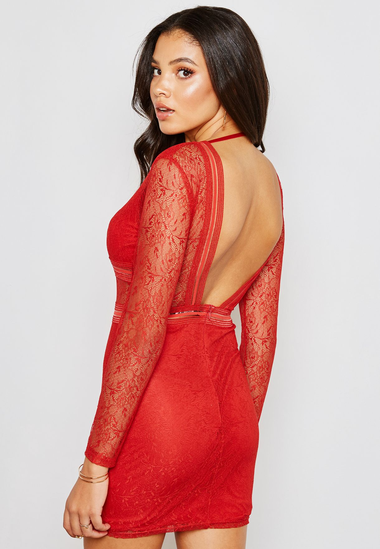 Lace Mesh Mini Dress
