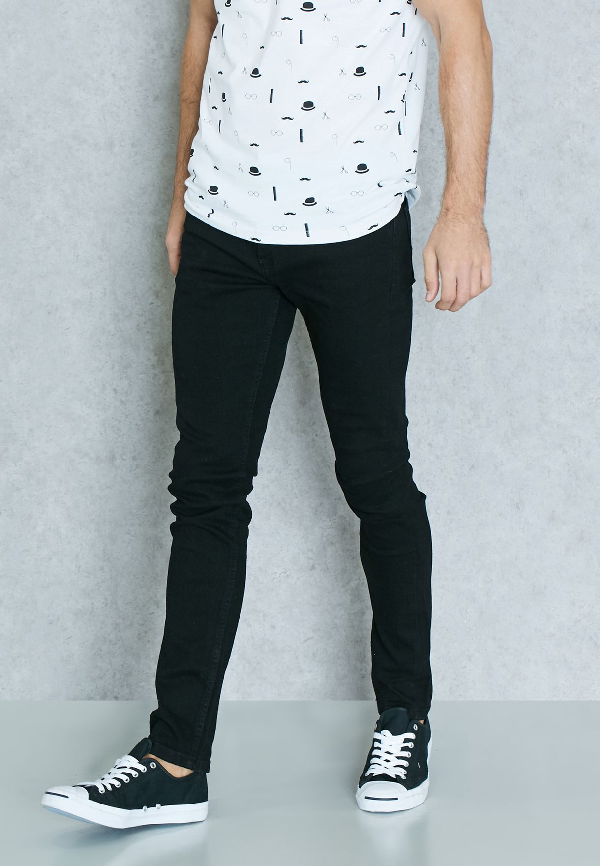 6f22190bc3 Shop Only sons black Warp Skinny Fit Dark Ripped Jeans for Men in ...