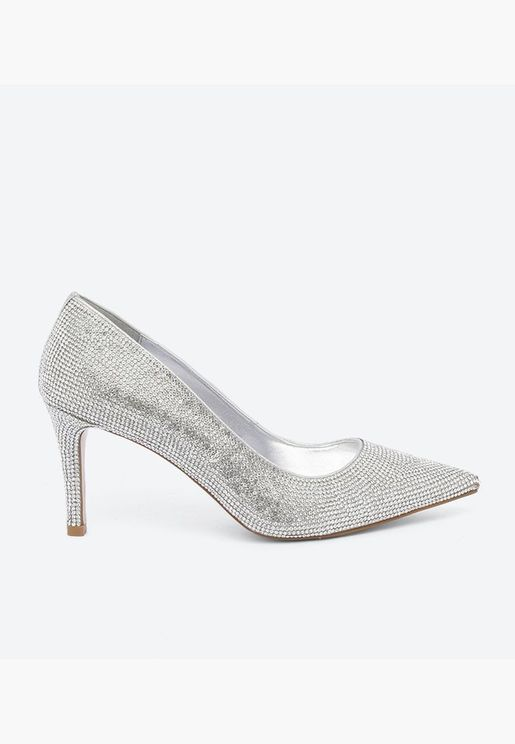 Bombshell Synthetic High Court shoe - Silver