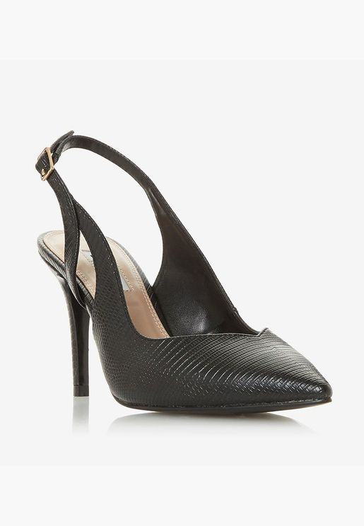 Textured Pointed Toe Back Strap Stiletto Heeled Pu